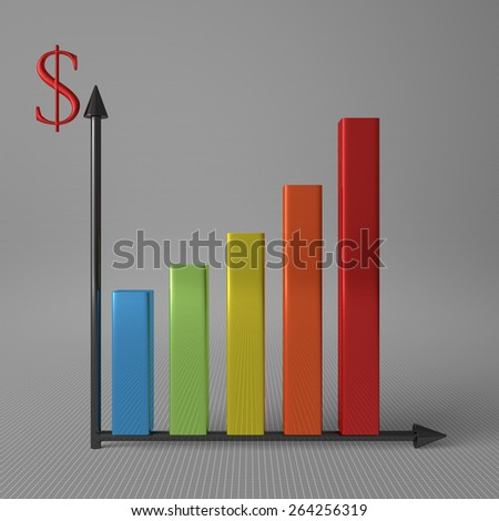 Multicolor glossy bar chart showing progress, with dollar sign on Y axis, standing on gray background, front view - stock photo