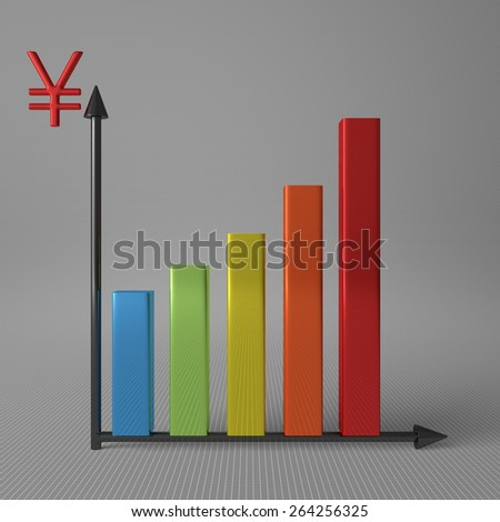 Multicolor glossy bar chart showing progress, with yuan sign on Y axis, standing on gray background, front view - stock photo