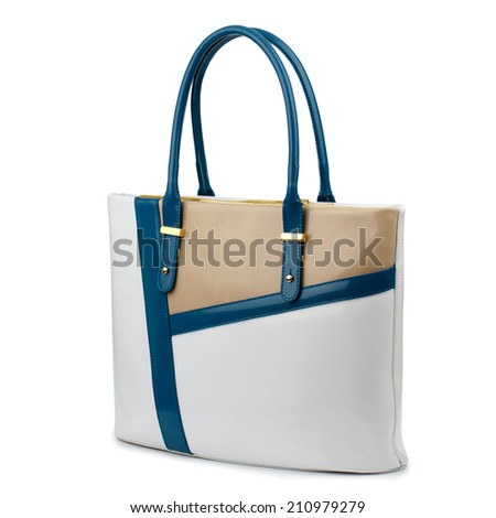 Multicolor glossy female leather bag isolated on white background.
