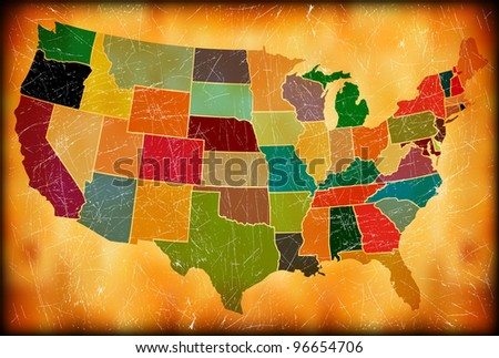 Multicolor Grunge USA Map - stock photo