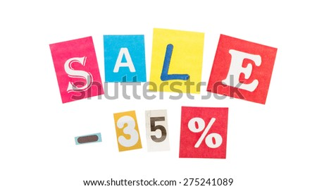 Multicolor Inscription Sale made with cut out letters isolated on white background - stock photo