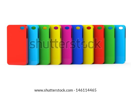 MultiColor Mobile Phone plastic cases on a white background - stock photo