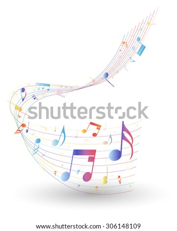 Multicolor musical note staff background - stock photo