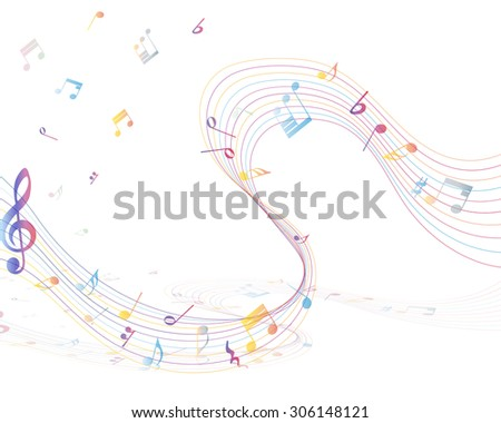 Multicolor musical note staff background