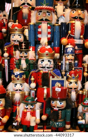 Multicolor Nutcraker army- traditional toys on Christmas market (Weihnachsmarkt) in Hamburg (Germany) - December, 2009. - stock photo