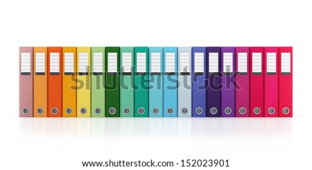 Multicolor Office Folder File Horizontal Composition Isolated on White Background - stock photo