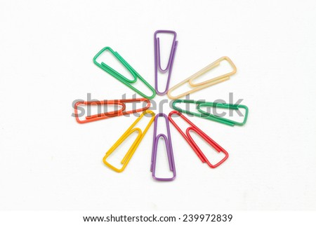 Multicolor paper clips are arranged in a circle , isolated on white background - stock photo