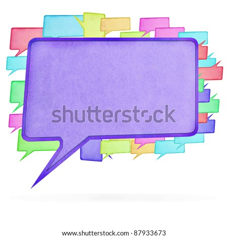 Multicolor paper Speech bubble on white background, with clipping paths - stock photo