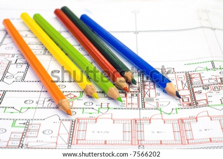 Multicolor pencil and drawing - stock photo
