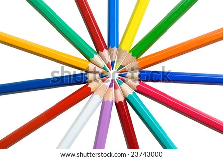 Multicolor pencils isolated on a white background. - stock photo
