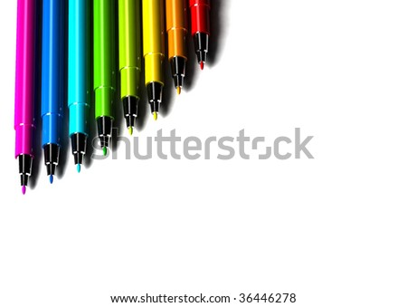 multicolor pens on white background - 3d render