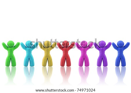 Multicolor Plasticine human figures arranged in a row - stock photo