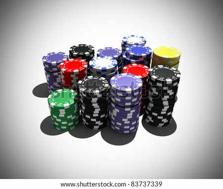 multicolor poker chips - stock photo