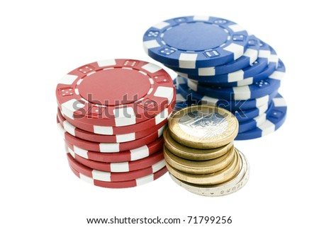 multicolor poker chips and euro coins isolated on white background. closeup horizontal shot. another similar shots available