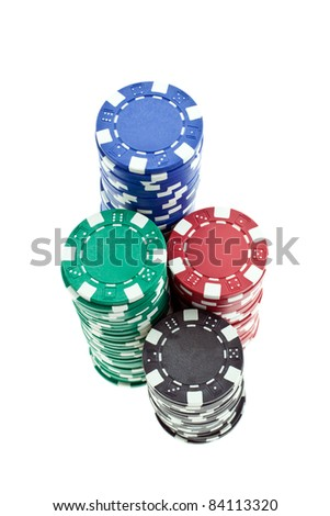 multicolor poker chips heaps isolated on white background. closeup horizontal shot.