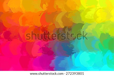 Multicolor round brush strokes background. Raster version - stock photo