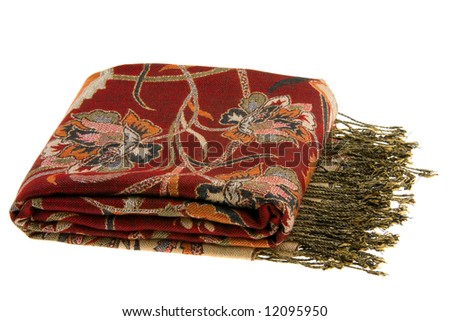 Multicolor Scarf Isolated on White - stock photo