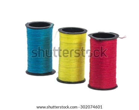 Multicolor sewing thread with isolated white background