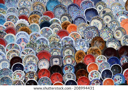 multicolor sovenir earthenware in tunisian market, Sidi Bou Said, Tunisia - stock photo