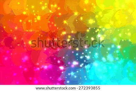 Multicolor sparkles brush strokes background. Raster version - stock photo