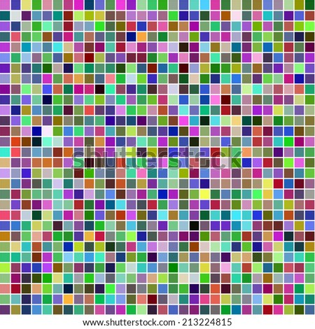 Multicolor square pixel mosaic background - jpeg version - stock photo