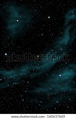 multicolor stars and cloud background.