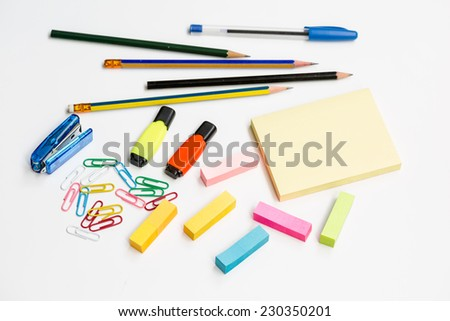 Multicolor stationery on white background  - stock photo