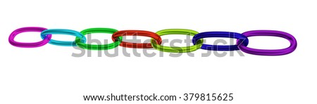 Multicolor strained chain from metal isolated on white  - stock photo