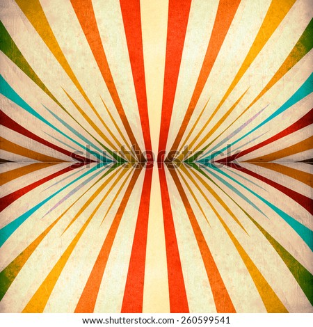 Multicolor Sunbeams grunge background. A vintage poster. - stock photo