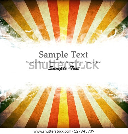 Multicolor Sunbeams grunge background. with copy space. - stock photo
