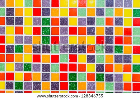 multicolor tile wall - stock photo