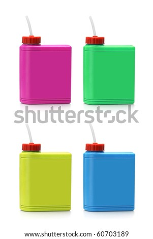 Multicolor water containers arranged on white background