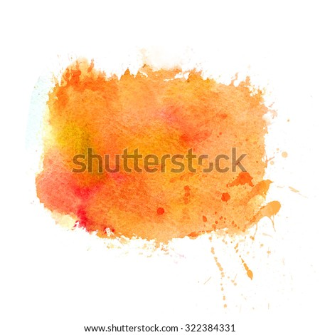 Multicolor watercolor strokes texture. Saturate orange and yellow autumn colors. Artistic background with canvas texture. Abstract paint stain with spray and drops of water. - stock photo