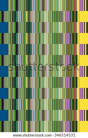 Multicolored abstract mosaic of alternating rows of uniformly sized rectangles, with predominance of green, for decoration and background