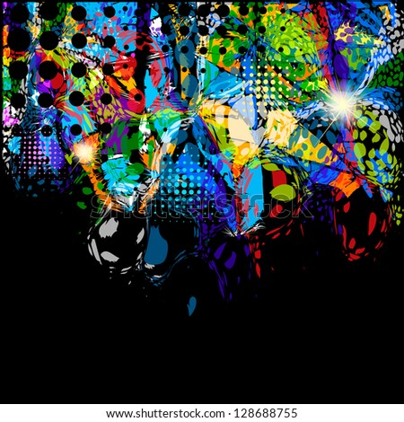 Multicolored abstraction with spots of paint - stock photo