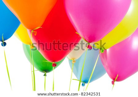 Multicolored air balloons - stock photo