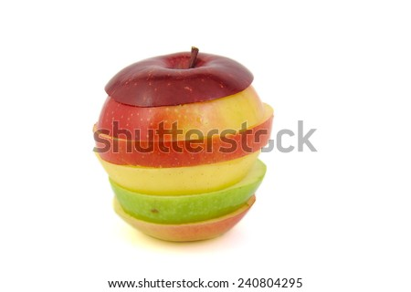 Multicolored apple: red, green and yellow on a white background