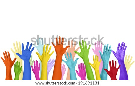 Multicolored Arms Raised and Copy Space