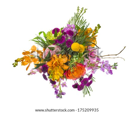 Multicolored arrangement of flowers isolated on a white background - stock photo