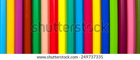 multicolored background, made from pencils, isolated on white background.