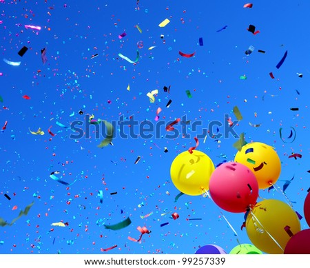 multicolored balloons and confetti in the city festival #5 - stock photo