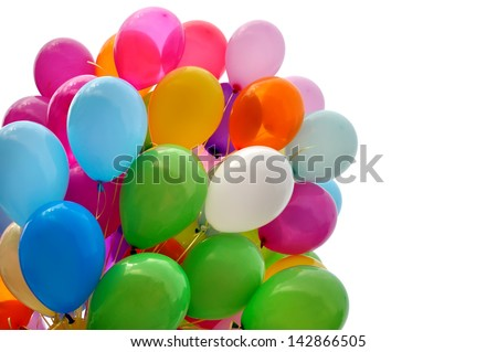 multicolored balloons isolated on white - stock photo