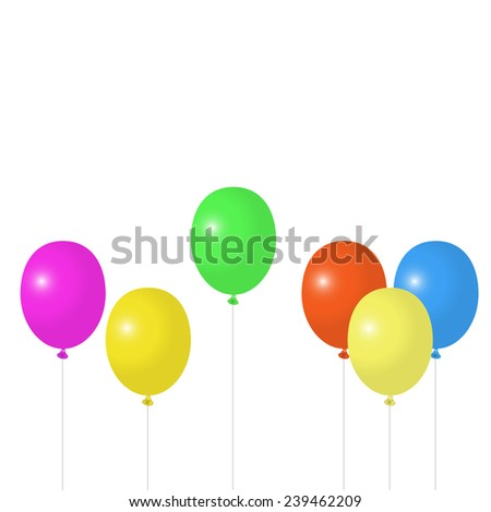 Multicolored balloons on a white background, raster
