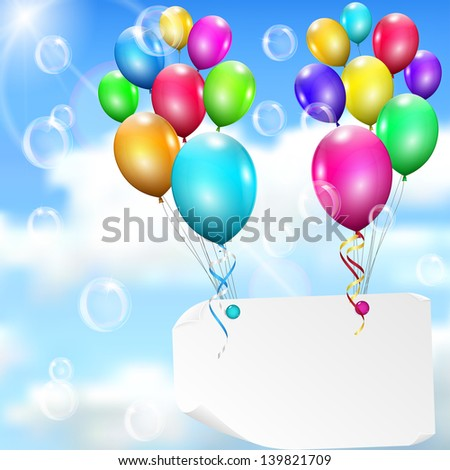 Multicolored balloons with paper card on sky background with sun, clouds and soap bubbles. Raster version. - stock photo