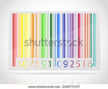 multicolored barcode illustration isolated on white background - stock photo