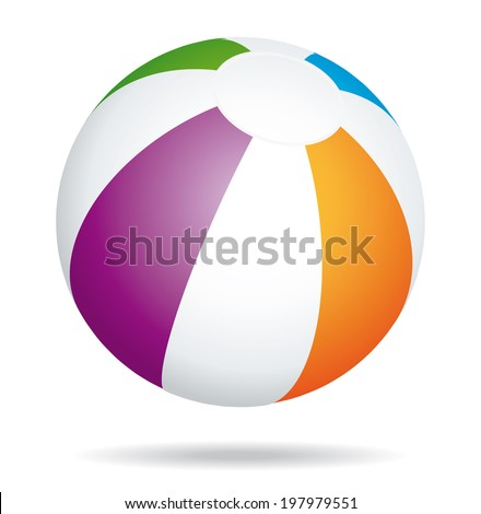 Multicolored beach ball. Holidays summer icon.