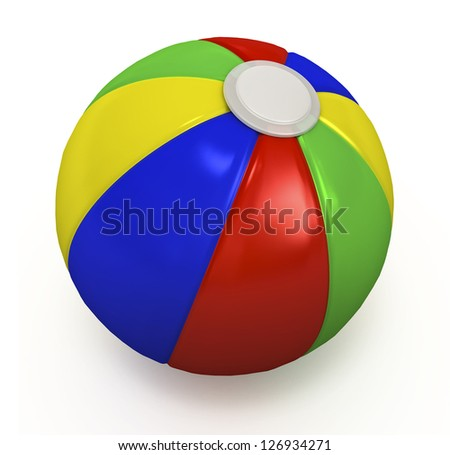 Multicolored beach ball isolated on white.