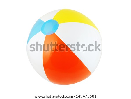 Multicolored beach ball isolated on white - stock photo