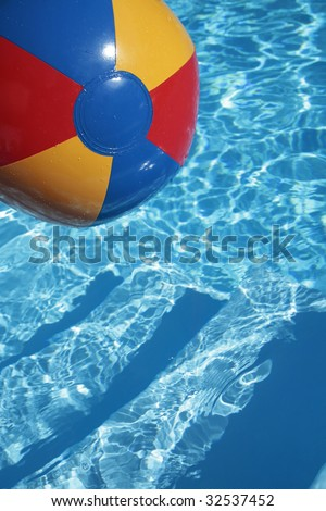 Multicolored Beachball in a beautiful blue swimming pool