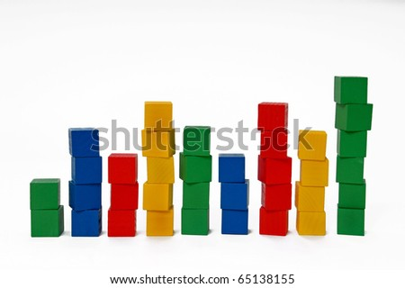 Multicolored blocks stacked into columns - stock photo